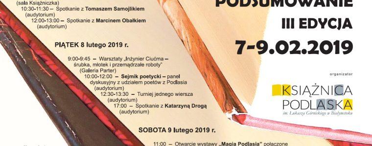 """Festiwal Literacki """"Autorzy i Książki. Podlaskie Podsumowanie"""" 2019"""